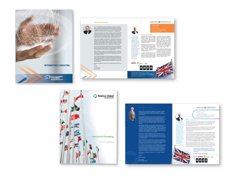 October Three and Abelica Global digital and print brochures